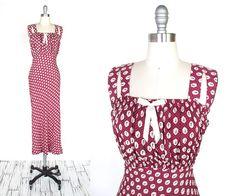 Vintage 1930s Dress  Wine Red Novelty Print by myVintageValentine, $258.00