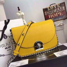 Prada 2016 Runway Handbags Cheap Sale - Prada Arcade Calf Leather Shoulder Bag in Yellow