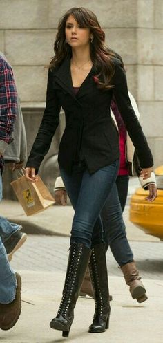i love the boots Nina Dobrev