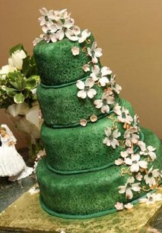 Beautiful green cake by TanyaCakes.com Check out more wedding tips at WeddingbyDesigns.com and TheInspiredEdge.com