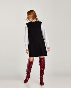 ZARA - WOMAN - DRESS WITH CONTRASTING SLEEVES