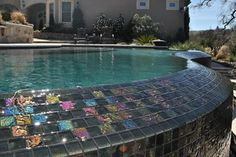 One of the local pools we've worked on here in Northern California's Bay Area -- this tile work is beautiful! Swimming Pool Repair, Swimming Pools, Aqua Pools, Northern California, Bay Area, The Locals, Tile, Gallery, Outdoor Decor