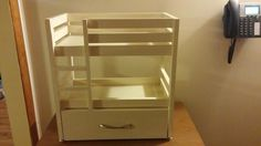 """American Girl or 18"""" doll bunk bed building plans - Ana White. Drawer could be storage, or trundle bed for 3rd doll."""