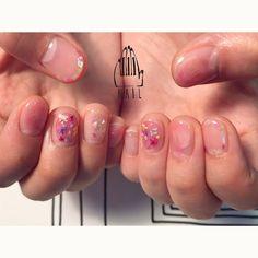 ⚪️▫️💐▫️◻️🎨🌼◻️💐 #nail#art#nailart#ネイルアート#pink#flower#クリアネイル#cute#kawaii#押し花ネイル#ショートネイル#nailsalon#ネイルサロン#表参道 #pink111#水彩ネイル111#押花111#クリアネイル111