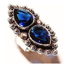 Natural Sapphire 6 Ct Ring 925 Sterling Double Tear Drop Ladies Sz 6... ($35) ❤ liked on Polyvore featuring jewelry, rings, sapphire jewellery, sapphire jewelry, sapphire ring, teardrop ring and tear drop ring