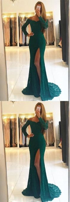 Elegant Mermaid off shoulder prom dress with long sleeves, dark green side slit long formal gown 51886 #RosyProm #fashionpromdress #charmingpromgown #longpartydress #simpleeveningdress #greenpromdress #promgown