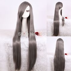 Free Shipping 100cm Straight Synthetic Hair With Bangs Long Black Anime Cosplay Wig