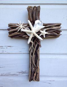 Driftwood Seashell Cross/Beach Wedding Cross/Driftwood Home Decor by MyHoneypickles on Etsy