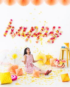 Floral Word Backdrop | Oh Happy Day! | Bloglovin'