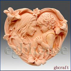 2D Silicone Soap Mold - Mother & Child in Heart - free shipping