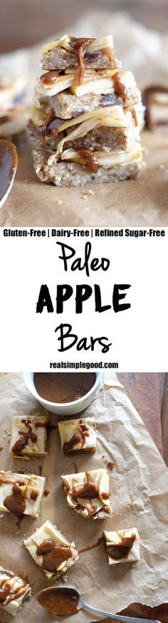 These paleo apple bars are gooey, a little sweet and a little salty. Does it really get any better than that?! You can pick them up and savor each bite. Paleo, Gluten-Free, Dairy-Free, and Refined Sugar Free. | http://realsimplegood.com