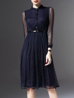Buttoned Silk Midi Dress with Belt