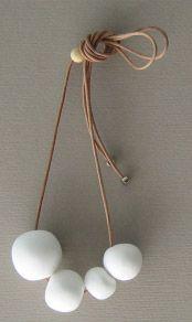 White necklace ceramic More