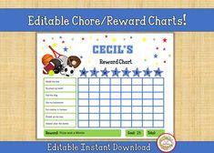 Kids Chore Charts, Childrens Chore Charts, Reward Charts, Responsibility Charts, Editable, Printable, Sports, Football, Baseball, Basketball
