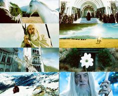 Shadowfax, Aragorn's Coronation, Saruman on Orthanc,Gandalf driving the Nazgûl away with light, The White Tree of Gondor, Simbelmyne, The one Ring in Caradhras (Redhorn), Gandalf's return as Gandalf the White.