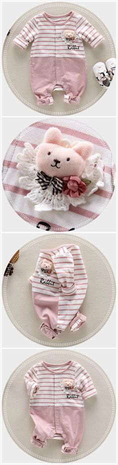 Cartoon Bear Brooch Baby Girl Romper Infant Toddler's Jumpsuit For Autumn