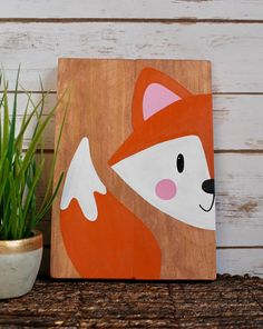Baby Bedroom Paint Ideas Wall Colors 28 Ideas For 2019 Simple Canvas Paintings, Easy Canvas Painting, Forest Animals, Woodland Animals, Fox Painting, Woodland Forest, Wall Art Decor, Fox Decor, Colorful Backgrounds
