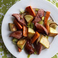 Double Onion, Kielbasa & Potato Roast with Mustard Sauce Recipe - German Recipes - Woman's Day