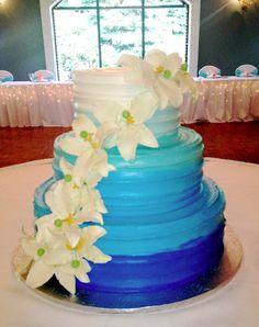 Calumet Bakery Blue Ombre Wedding Cake