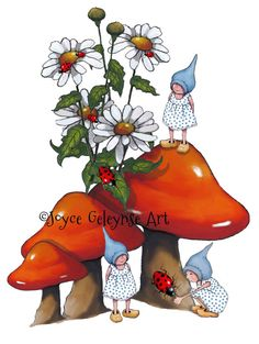 Toadstool and Gnomes Clip Art Hand Drawn by FreshAirPrintables