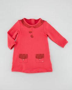 Little Marc Jacobs Trompe l'Oeil Fleece Shirt Dress, Pink, 3-18 Months - Neiman Marcus