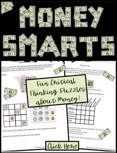 Find fun money puzzles for kids that teachers can use in student centers. Products contain common cores ideas, brain teasers, worksheets, pictures, activities, and sudoku activities. It's easy to challenge fast finishers with awesome print and go printabl