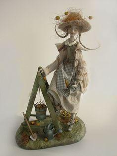 DACHA RESIDENT, March 2010  Original handmade doll by Anna Zueva