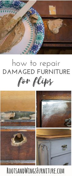 Have a piece of furniture that's seen better days? This piece had the key hole pulled through, but I have an easy solution to fix unsightly holes in the wood/veneer! I answer the question what's the best wood filler to use, I bet you'll never guess what you can use to repair the wood.