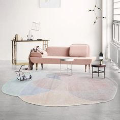 Step outside of the actual box when it comes to the shape of your standard area rugs. This cloud-esk day dream of an are rug is reminiscent of cotton candy, and who doesn't love cotton candy? Living Room Carpet, Rugs In Living Room, Coffee Table Rug, Indie, Round Area Rugs, Rug Shapes, Geometric Rug, Home Rugs, Modern Materials