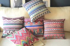Bohemian Style Abstract Geometric waves pattern Cushion Cover throw pillow Case