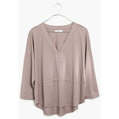 MADEWELL Luster Cotton V-Neck Tee ($20) ❤ liked on Polyvore