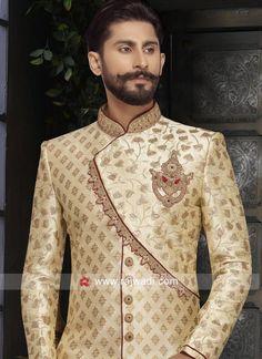 Brocade Silk Fabric Golden Sherwani For Wedding Sherwani For Men Wedding, Wedding Men, Etat Civil, Blazer Outfits Men, Men Dress Up, Indian Groom Wear, Western Suits, Indian Wedding Photography Poses, Mens Kurta Designs