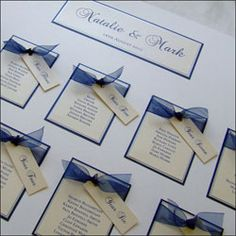 Navy, White and Silver Wedding Table Plan with Navy Organza Ribbon  £65.00 #wedding   http://www.weddingparaphernalia.co.uk/wedding-table-plan-alabama.htm