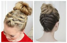 Прическа с пучком и плетением кос