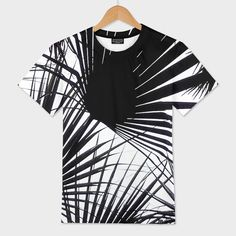 «Black and White Tropical Leaves», Numbered Edition Men's All Over T-Shirt by Dominique Vari - From $39 - Curioos    A modern, minimal and stylish Japanese inspired design that reflects the beauty of Nature with a series of palm leaves, forming an abstract 'tropical' screen. The perfect choice for a clean, trendy and stylish Botanical look