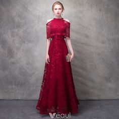 Chic / Beautiful Burgundy Evening Dresses 2017 A-Line / Princess Lace Flower Beading Crystal Sequins Bow Halter Strapless Sleeves Ankle Length Formal Dresses Beautiful Dresses, Nice Dresses, Casual Dresses, Fashion Dresses, Formal Dresses, Best Wedding Dresses, Bridal Dresses, Prom Dresses, Burgundy Evening Dress