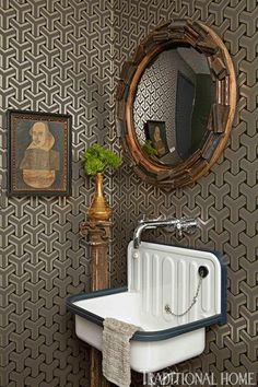 powder room sinks - white enameled tin Depression style wall-hung lavabo with plunger - Trad Home via Atticmag Lavabo Vintage, Vintage Sink, Vintage Art, Mid Century Ranch, Sink Design, Toilet Design, Vintage Bathrooms, Geometric Wallpaper, Print Wallpaper