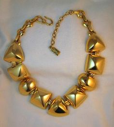 Vintage YSL Yves Saint Laurent Modernist Geometric Necklace - available from Ultimate Adornment & Collectibles.