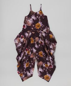 Another great find on #zulily! Purple Floral Harem Jumpsuit - Toddler & Girls by Yo Baby #zulilyfinds