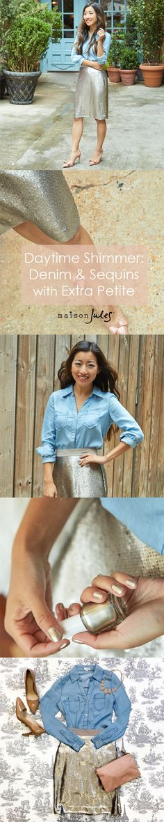 Who knew denim and sequin could be the perfect match! Pair a chambray shirt with a flirty skirt for a chic outfit perfect for your holiday festivities.