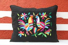 Multi Colored Otomi Pillow Sham Piece with black by CasaOtomi,   www.casaotomi.com Tenango, Otomi, Casa otomi, Casaotomi, Mexican Suzani, Mexican, wedding, Textile, Fabric, Hand Embroidered, embroidery, table runner, cushion, pillow, authentic, wall hanging,