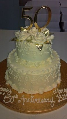 50th anniversary cake. Cream cheese icing.  By: Angie Burger