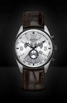 ADVOLAT VOYAGE Swiss Made Chronograph, Tachymeter, Stainless Steel Casing Bicolor IP black, Face silver sunray, Leather Bracelet dark brown, Ref. 88006/5-L3 Limited Edition Watches, Watches Online, Stainless Steel Case, Chronograph, Omega Watch, Bracelets, Dark Brown, Face, Silver