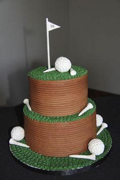 Golf Groom's Cake by Cheryl McMillan Cake Design Golf Themed Cakes, Golf Birthday Cakes, Golf Cakes, Golf Ball Cake, Happy Birthday, Golf Grooms Cake, Groom Cake, Dad Cake, Retirement Cakes
