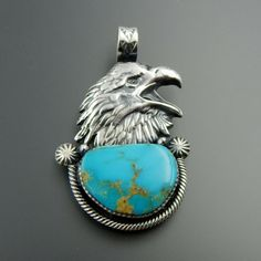HANDCRAFTED STERLING SILVER AMERICAN GREEN TURQUOISE EAGLE PENDANT #Pendant