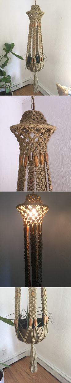 Vintage macrame lamp and plant holder hanging от thegoodwillowshop