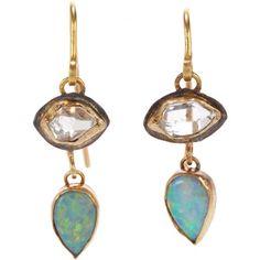 Judy Geib Herkimer Diamond & Opal Double-Drop Earrings at Barneys.com