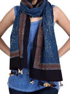 Indigo Resist Drop Cotton Stole With Ajrakh Border