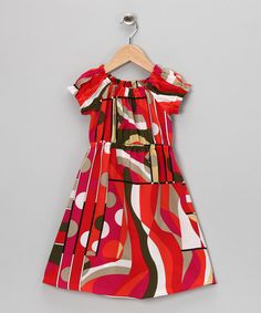 Take a look at this Red Geometric Silk Chiffon Dress - Toddler & Girls by Times Two on @zulily today!