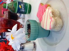 Cute dessert at American girl doll store in Chicago!! Pudding with Oreo bits and angel cake. Also,a tasty cookie!!!
